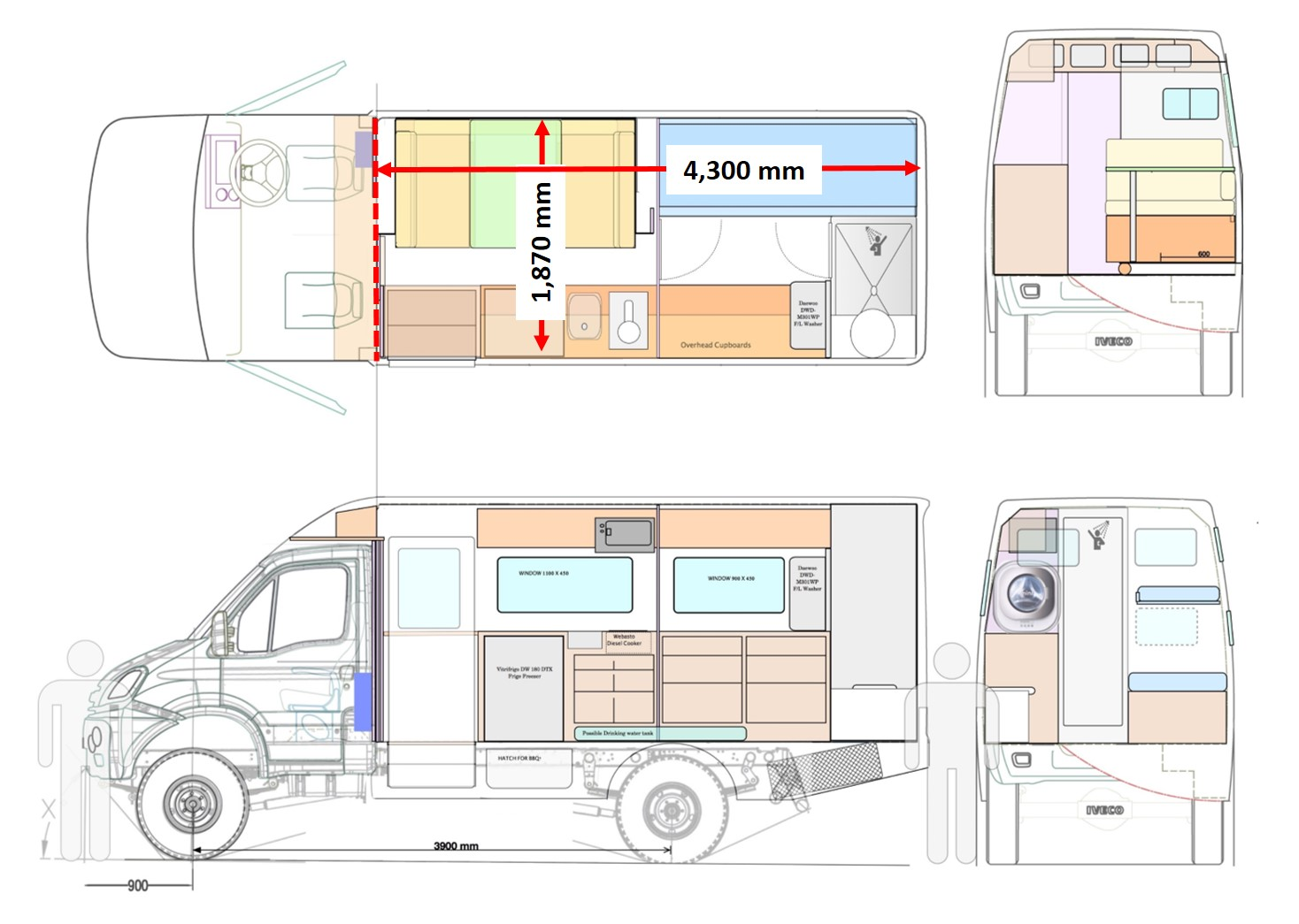 Shower Floor Plan Iveco Daily 4wd Motorhome Shell 4x4 Motorhomes